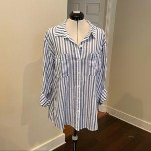 Sanctuary Blue/White Stripe Boyfriend Button Up XL